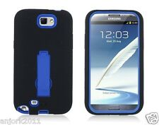Samsung Galaxy Note II 2 Hybrid S Armor Case Skin Cover w/ Stand Black Blue
