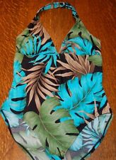 Great NWT SPEEDO SWIMSUIT 1-PC moderate XTRA LIFE HALTER palm floral print sz 12