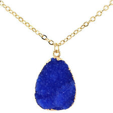 Ladies Gold Plated Chain Crystal Resin Pendant Necklace Jewelry