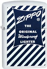 Zippo Blue White 1958-59 Retro Add. White Matte WindProof Lighter NEW 29413