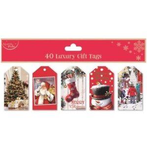 Xmas Gift Tags Luxury Glitter Santa Elf Reindeer Handcrafted Various Designs
