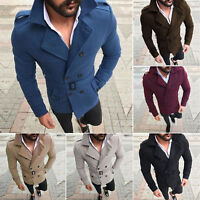 Winter Mens Trench Coat Overcoat Double Breasted Long Jacket Slim Fit Outwear