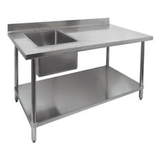 """New 30"""" x 48"""" Work Table & Left Side 16"""" x 20"""" Prep Sink #2095 Stainless Steel"""