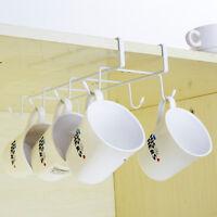 8 Hooks Under Shelf Cup Mug Holder Hanger Coffee Kitchen Storage Rack Cupboard