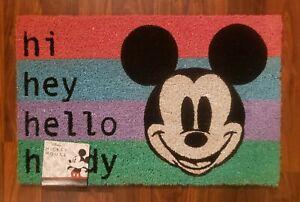 Disney Mickey Mouse Door Mat Doormat Welcome Mat Hi Hey Hello Howdy Colorful NEW