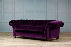 Chesterfield Design Luxury Pads Sofa Couch Seat Set Leather Textile New #130