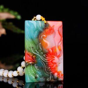 Natural multi color jade men's T-Rex Jade Pendant Necklace