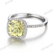 8X8mm Cushion Cut Flawless Apple Green Cubic Zirconia Solid 18K White Gold Ring