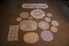 Lot Of 14 Assorted Sizes Doilies & Dresser Scarves