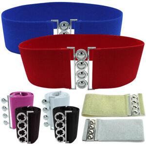 Women Fashion Wide Elastic Waist Belt Cinch Belt Silver Buckle Stretch Waistband