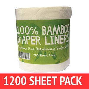 Bamboo Nappy Liners insert Biodegradable Anti-Bacterial 6 Rolls = 1200 sheets