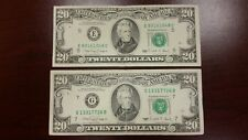 Lot of 2 Two Old $20 US Notes Bills ( 1990 ) $40.00 Face Value