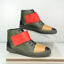 MARNI Men's Thick Band High Top Sneaker Lace-up US 10 Coal Dark Olive Red NIB