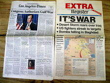 6 1990-1991 hdlne newspapers 1st GULF WAR Desert Storm IRAQ thrown out of KUWAIT