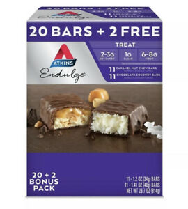 Atkins Endulge Caramel Nut Chew & Choc Coconut Variety Bars Keto Friendly 22ct