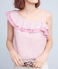 6f8fcc8b398 NEW Anthropologie Ruffled Linen One Shoulder Top Blouse Pink Size Medium