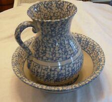 Antique 1850-1885 BLUE & WHITE SPONGEWARE Water Pitcher & Basin Bowl Exceptional