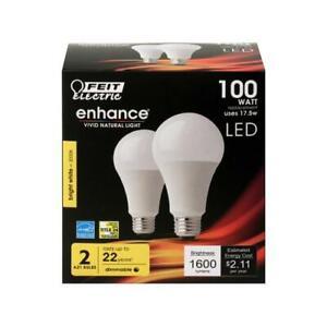 LED Light Bulbs, A19, Warm White, 1600 Lumens, 17.5-Watts, 2-Pk.