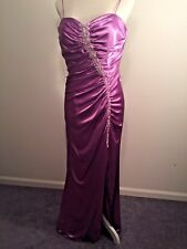 Pink Princess Dress For Adults Size 12 Satin Side ZIP Ruched Rhinestones
