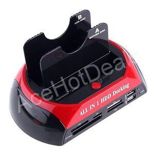 """USB 2.5"""" 3.5"""" Dual SATA Hard Disks HDD Docking Station e-SATA Hub SATA Cables"""
