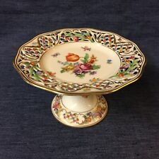 "ANTIQUE SCHUMANN~ RETICULATED PORCELAIN 6 1/4"" COMPOTE / COMPORT ~ LOVELY FLORAL"