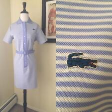 Vintage IZOD Chemise Lacoste MOD Shirt Dress 60s Blue Stripe Alligator Prep M L