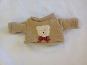 Teddy Bear knit sweater  brown jumper pullover,red bow large doll/animal clothes