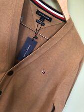Tommy Hilfiger Mens V Neck Cardigan Sweater Light Brown M Medium -New