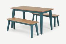 MADE.com Ralph Outdoor Modern Compact Oak & Teal Four Seat Bench Set - RRP £549