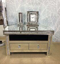 Diamond Glitz Sparkly Silver Mirrored Glass Crystal Corner TV Cabinet Stand
