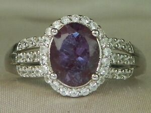 Color Change Lab Created Alexandrite Rhodium over Silver Ring 2.14 tcw-Size-6.75