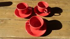 3 Fiestaware Tea Coffee Cups and Saucers Red