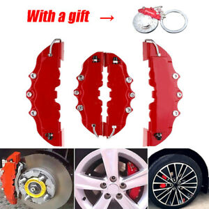 4x 3D Red Car Wheels Brake Disc Caliper Covers Protection Accessories w/ Keyring