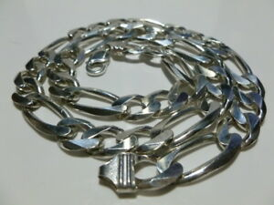 "MENS 24"" 119+ GRAMS STERLING SILVER FIGARO LINK CHAIN NECKLACE"