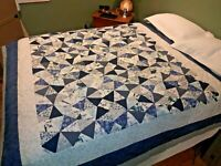 Handmade Blue Quilt Queen Size White Navy Grey Hand Tied Shattered Glass New
