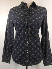 Beautiful Women's Medium Ralph Lauren Chaps Center Ruffle Blue Floral LS Blouse