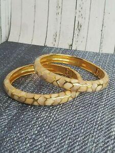 Joan Rivers Set 2 Enamel Bangle Hinged Bracelets Ivory Tan Gold Signed Pebble