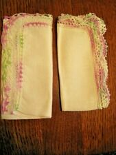 Two Linen Handkerchiefs W Variegated Green,White & Pink Crocheted Lace