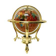"10"" Tall Table Top Amberlite Pearl Swirl Ocean Gemstone World Globe Tripod Gold"