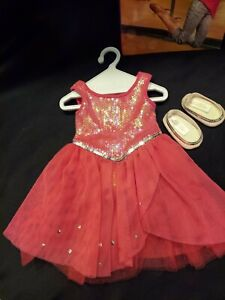 RETIRED American Girl Isabelle's Pink SPARKLE dance DRESS ballet SHOES Book Mint