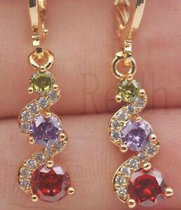 AMETHYST PERIDOT GARNET DIAMOND EARRINGS 18 CARAT GOLD AAA RAINBOW MULTI COLOUR