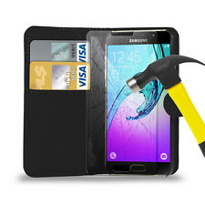 PU Leather Wallet Case Cover & Tempered Glass Protector For Samsung Galaxy Model