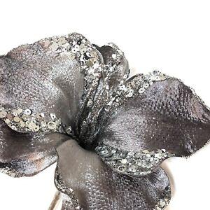 "Lot Of 6 Vickerman Silver Gray Glitter Artificial Flowers Long  Stem 23"""