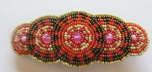 Spirit of Nature Hair Clip Seed Beads- 5 circles- coral dark gray yellow