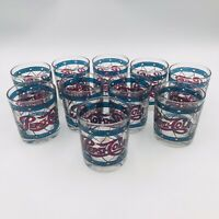 Ten (10) Pepsi Cola Tiffany Style Stained Low Ball Glasses Red Blue