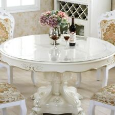 Round Tablecloth Clear Soft Glass PVC Table Cover Protector Desk Mat Desktop