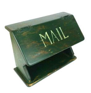 Primitive Farmhouse Wooden Mailbox Flip Lid Storage Organizer Green Shabby Chic