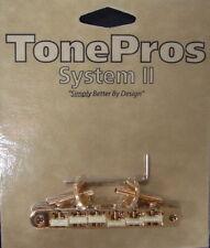 AVR2GP-G TonePros ABR1 Tune-O-Matic Bridge w/Notched G-Force Saddles, Gold