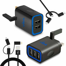 Super Fast 2 / 3 Port USB UK Mains Wall Battery Charger Power Adapter For Phone