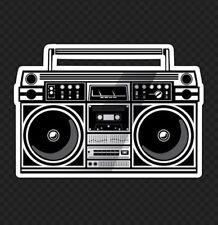 "5"" Wide Hip Hop Boom Box Old School Rap Stereo Rock 90s Skate Bumper Sticker"